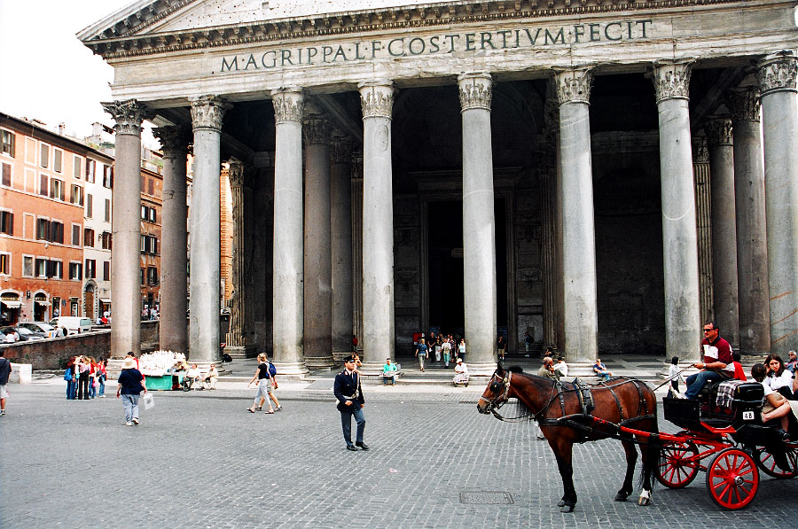 A view of the architecturally stunning Pantheon. Built in AD27, it is a temple  to {quote}all the gods.{quote}