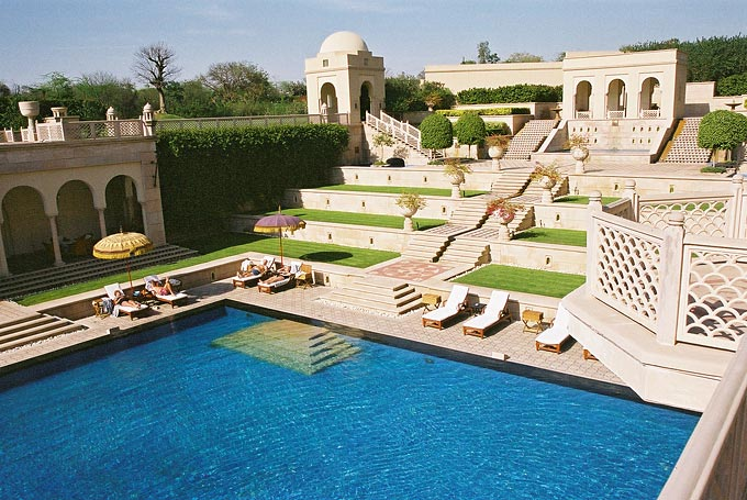 The grounds of the Oberoi Group's luxury spa resort, Amar Vilas. The Taj Majal, only 600 metres away, can be seen from each of the resort's 600 rooms.
