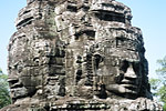 The Bayon Temple, part of the Angkor Thom complex, features 200 giant, smiling faces of Avalokiteshvara.