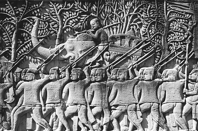 Part of a magnificent bas-relief adorning the Angkor Wat temple complex.