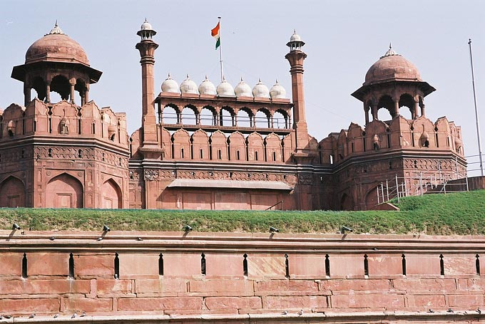 The Red Fort, Delhi's most stunning monument, is so named from the massive red sandstone walls that surround the royal palace.