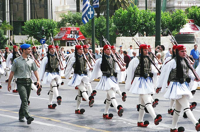 Greece's Presidential Guard, known as evzones, wear a traditional pleated kilt similar to the one worn by the mountain fighters in the 1821 War of Independence.