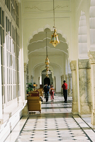 The Rambagh Palace, the former home of the Maharaja of Jaipur, is now a five-star palatial hotel.