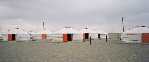 A ger camp for tourists in Omnogov, the largest but least populated aimag, or province, in Mongolia. Most Mongolians still live in these traditional, white felt tents.