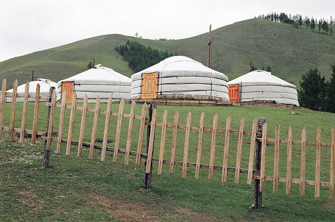 Many Mongolians are semi-nomadic and live most of their time in gers, usually uprooting and moving location several times a year.