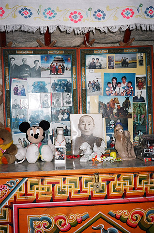 A dressing table, and its contents, inside a family's ger in Omnogov, South Gobi.