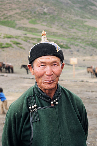 A village elder in Omnogov, the largest but least populated province in Mongolia.