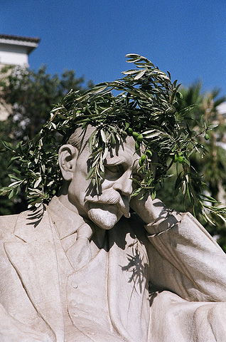 A marble statue of Greek poet Kostis Palamas, who wrote the words of the Greek national athem. All medal winners at the Games were crowned with olive wreaths.