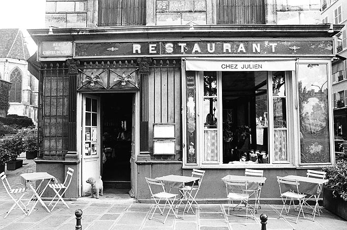 A restaurant in the trendy Marais quarter.