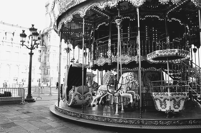 Carrousels, like this one in front of the Hotel de Ville, or town hall, can be found throughout the city.