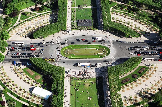 The capital boasts an impressive array of landscaped parks and gardens. This image was taken from the Eiffel Tower.