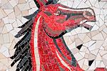 An impressive mosaic outside a shopfront in the historic and fashionable Marais quarter.