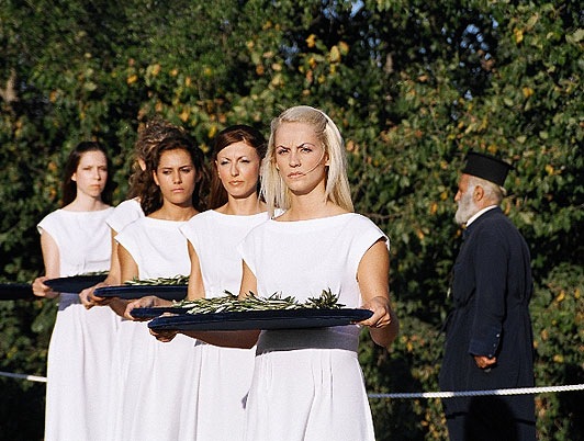 The medal winners at ancient Olympia took part in a carefully rehearsed and historic ceremony.