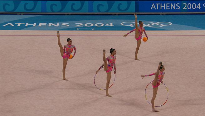 Members of the Greek rhythmic gymnastics team performing their routine.