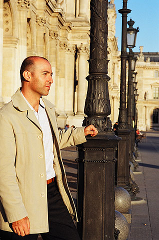Nick Papadopoulos in front of the Louvre Museum