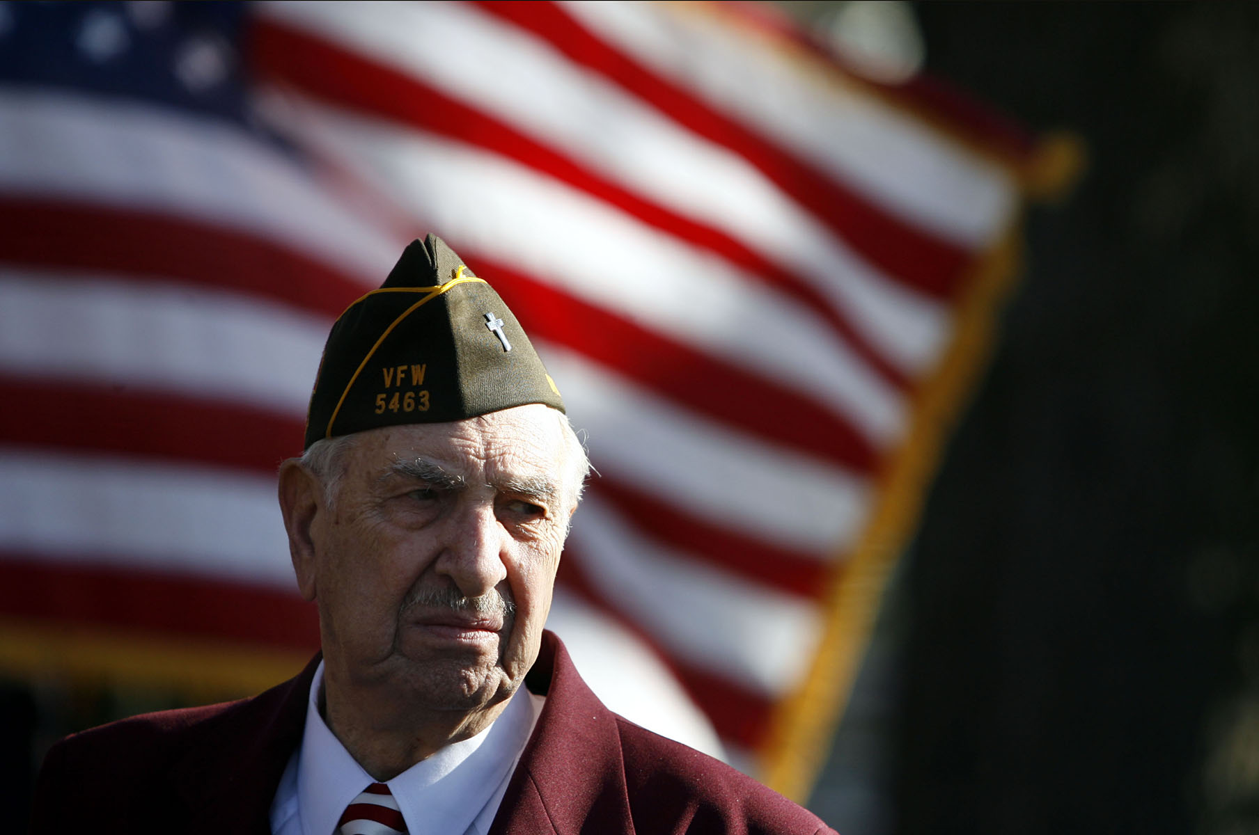 Veteran Alfred Della Rocco pauses during the close of the West Harrison Veterans Day parade.