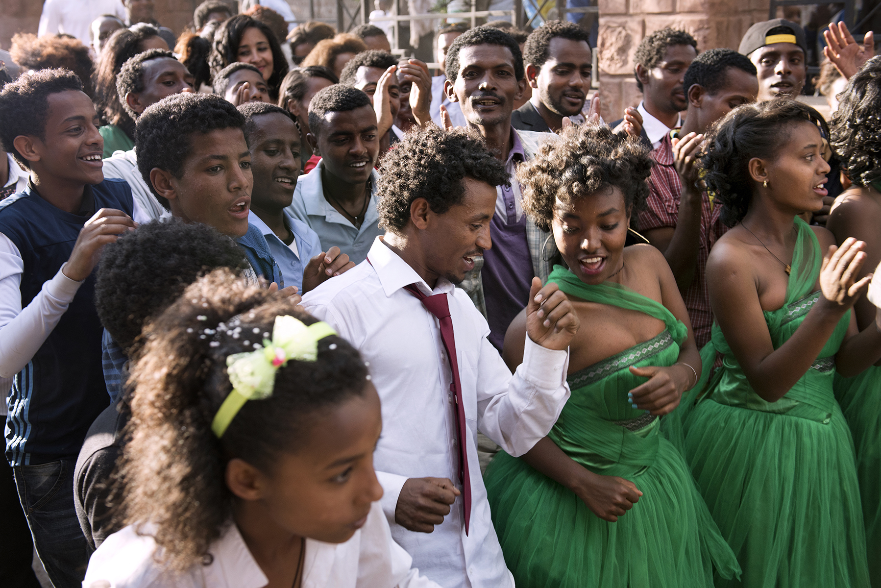 Newlyweds and their guests celebrate after their wedding at a hotel in Lalibela, Ethiopia.