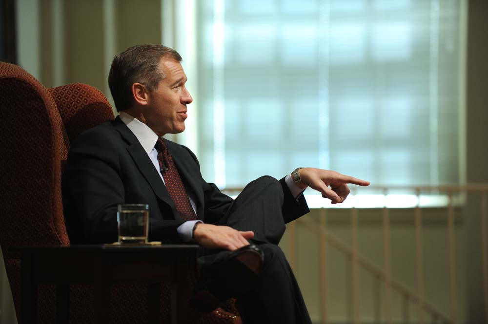 NBC Nightly News anchor Brian Williams participates in a question-and-answer session during his visit to Elon University.