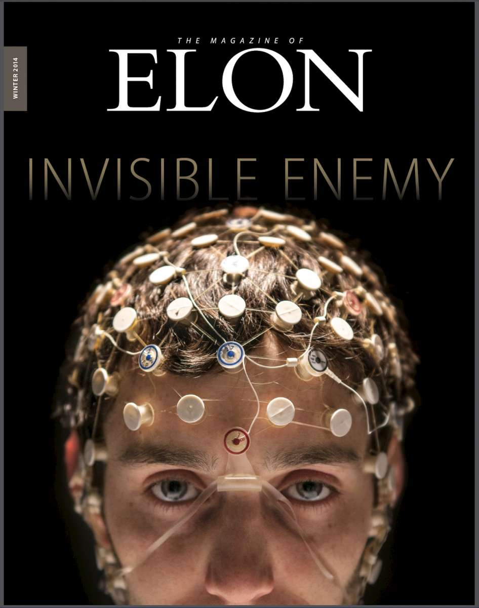 An illustration for a story on concussion research at Elon University is featured on the cover of the Magazine of Elon.