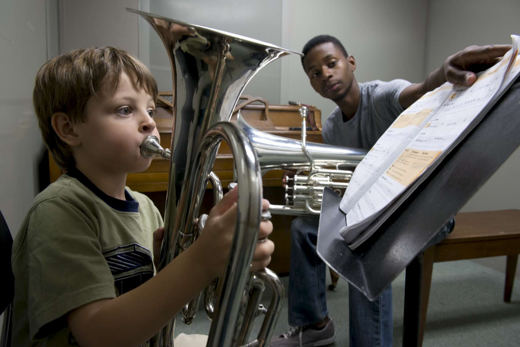 Justin Pierce, a music performance major at Elon University, teaches community members in his spare time.
