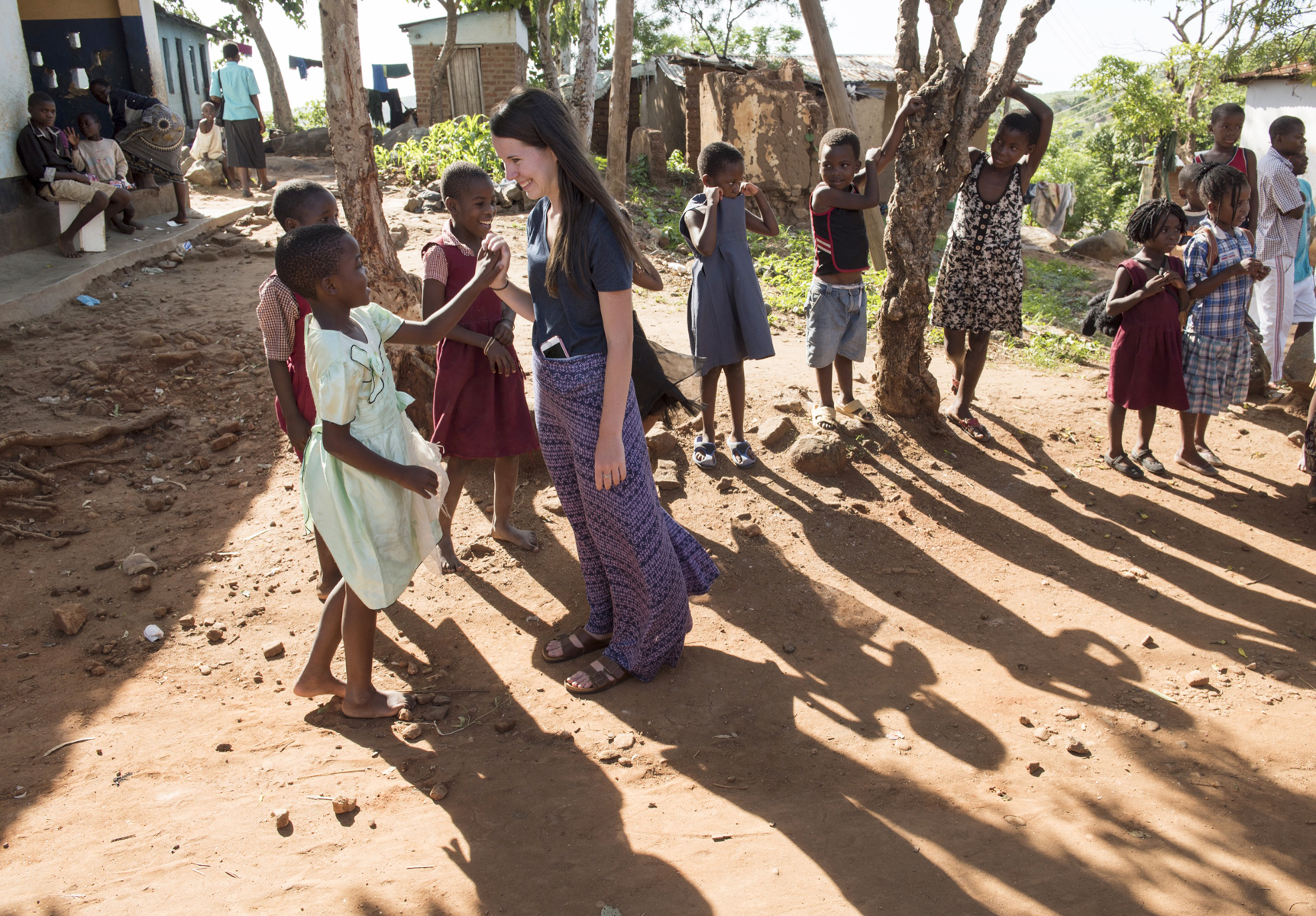 To familiarize themselves with their temporary home, Elon students visit a community on the outskirts of Blantyre, Malawi, where they were living and teaching.