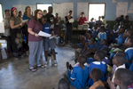 On their last day at the school, the Elon students present awards to each Malawian child.