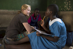 The Malawian students' groups are composed of an intentional mix of higher- and lower-level English readers.