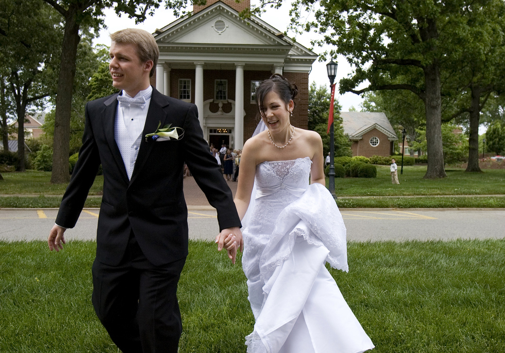 Brandi Coore and Philip Carmon, married at Meredith College's Jones Chapel in Raleigh, N.C.