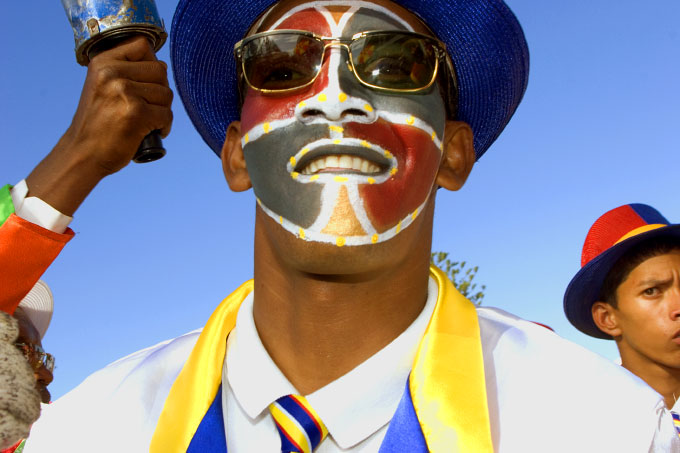 Minstrel Made Up in the Colors of the South African Flag, February, 2006