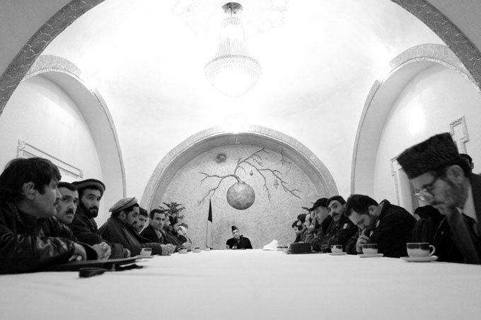 President Hamid Karzai meets with a delegation from the northeasternmost province of Badekshan.
