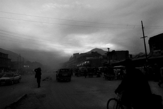 Evening dust settles over Kabul. Despite the spike in infrastructure and construction, Kabul remains a dirty, largely unlit city.