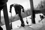 A racer prepares to burst from the start at a regional race at Mt. Sunapee in New Hampshire. MHS has a race team that travels to several races throughout New England each season.