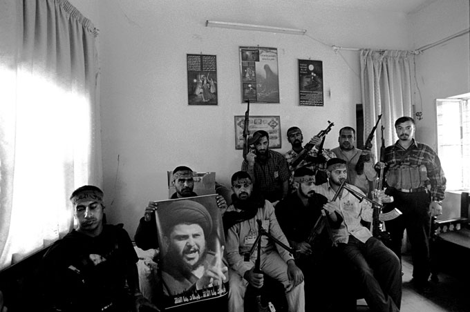 Mahdi Army Militia Members Arm and Pose in Baghdad
