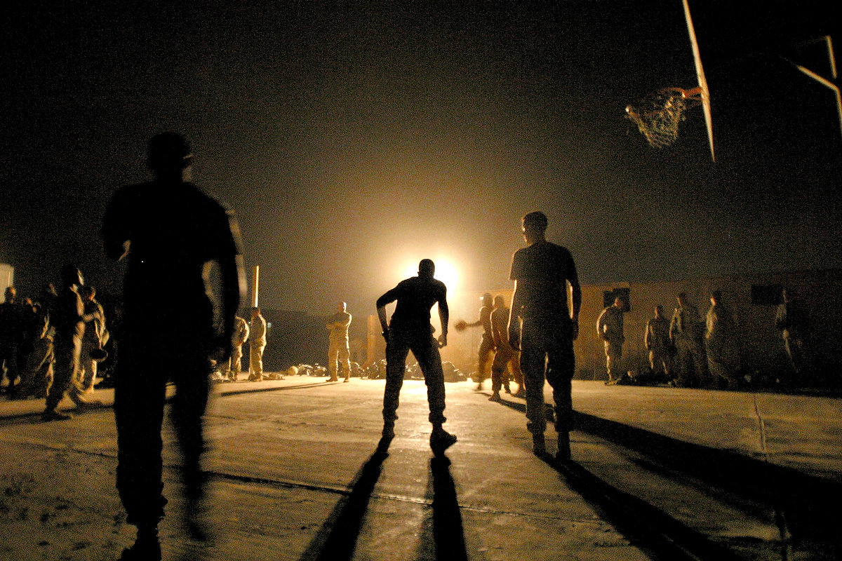 SOLDIERS PLAY BASKETBALL