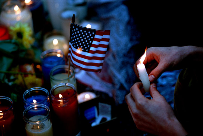 A makeshift memorial was set up in Union Square, Manhattan in the days following September 11th.