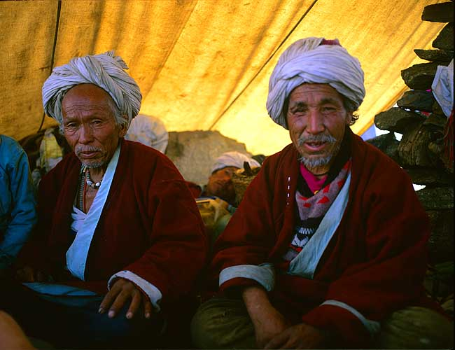 Two dhamis - village Shamen - looking a bit the worse for the two day chang-drinking binge that they are nearing the end ofBronica ETRSi, 75mm, Fuji Velvia