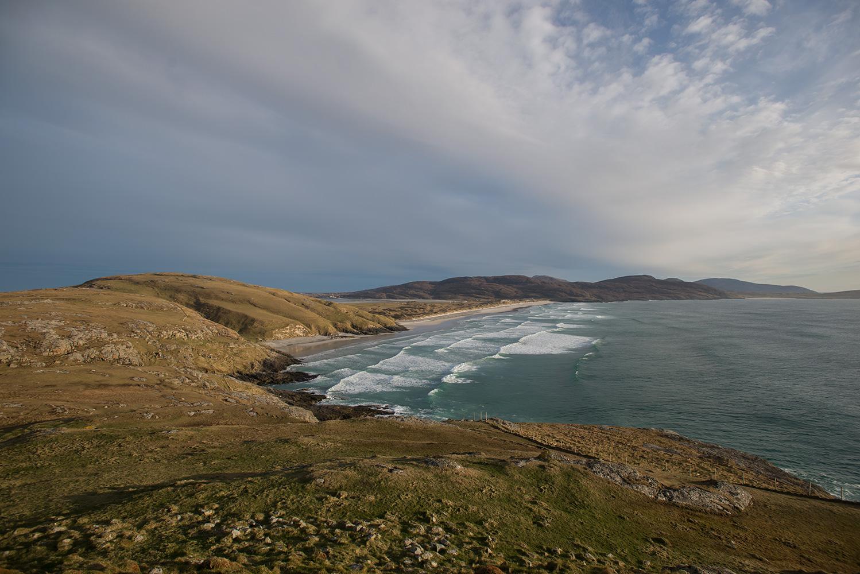 Traigh Eais sands from Dun Sgurabhal