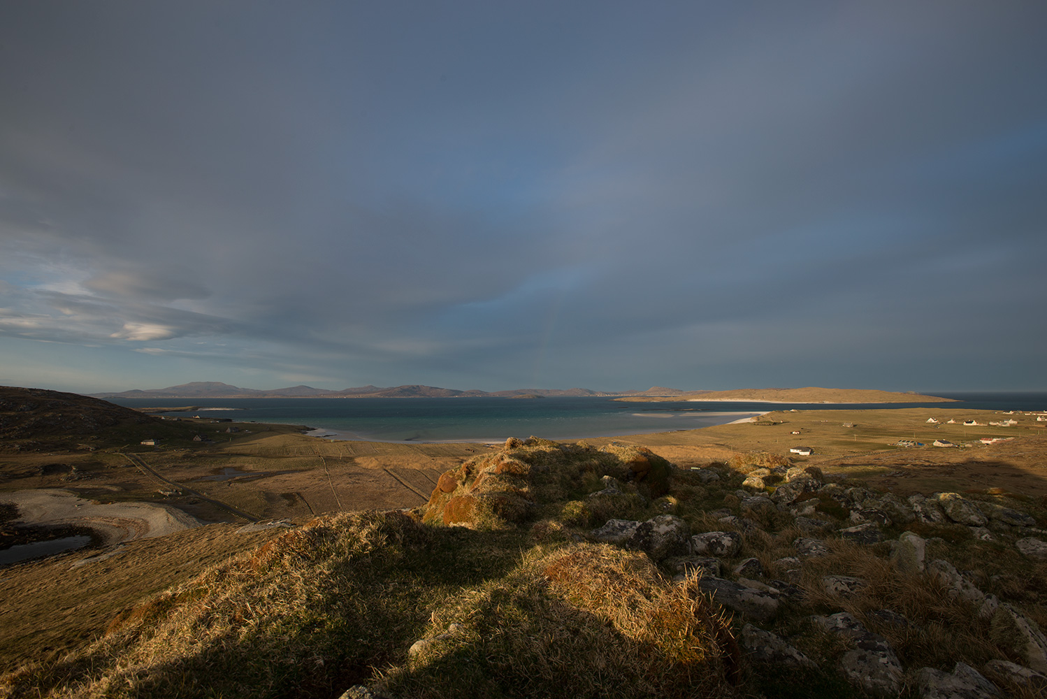 North to Eriskay and Uist from Dun Sgurabhal iron age fort