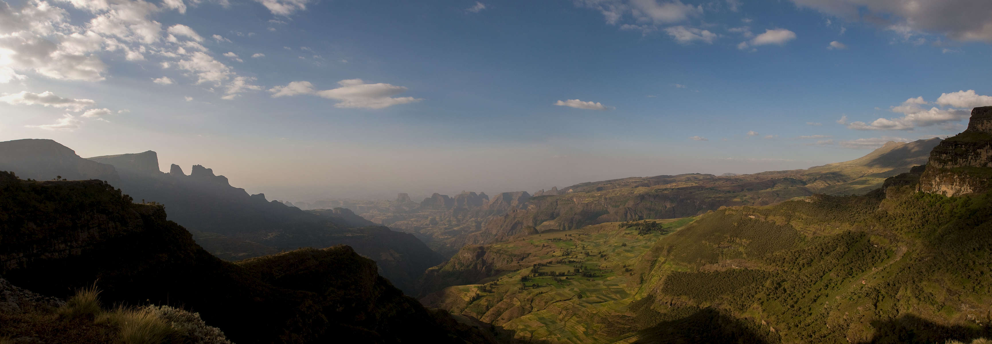 A stitched montage of four images taken from the viewpoint at Chennek in the Simien mountains. Original file is over 80MB and 10,000 pixels wide.