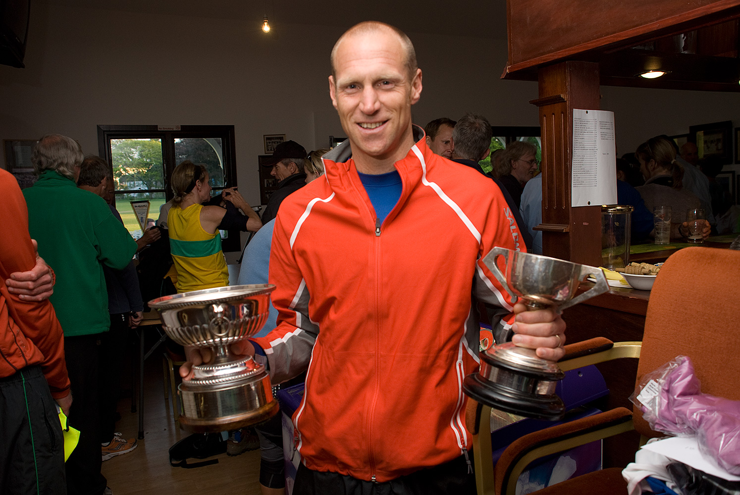 Receiving his trophiesafter winning the Latrigg Fell Race at the Keswick Mountain Festival in 2008. Simon won the British Fell Running Championship in 2002 & 2005 and came 2nd in the World Skyrunning Series in 2005.