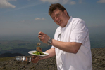 As part of the opening celebrations for Keswick Mountain Festival in 2008, celebrity chef Peter Sidwell of Simply Good Taste served a five course dinner on the summit of Skiddaw. Fortunately the weather was kind!