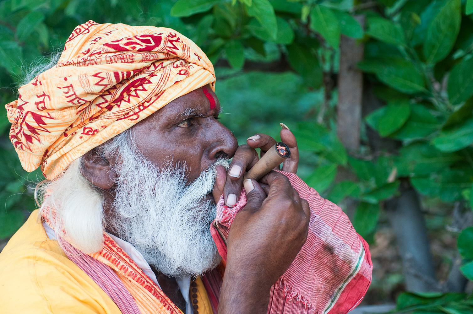 Sadhu smoking his chillum at Rishikesh, Uttarakhand
