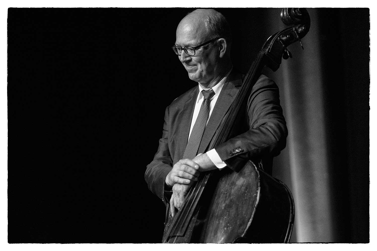 Bassist with the Dutch College Swing Band, peforming at the Theatre By The Lake during the Keswick Jazz and Blues Festival, 2017.