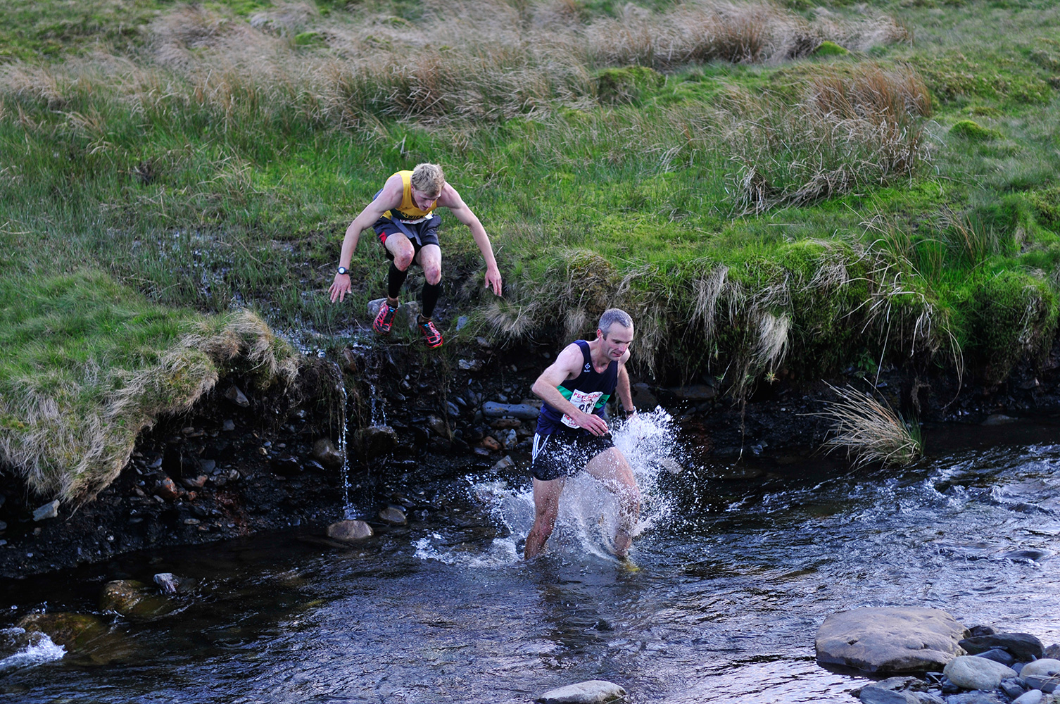 A 7.6 mile circuit over Blencathra from Mungrisdale in Cumbria. Competitors crossing the River Glendermackin at the end of the race.