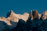 A morning telephoto from Khoburtse on the Baltoro glacier. The rock tower in the foreground catching the sun is Pt. 6012 - see the following shot for a wider view