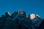 Early morning light  from Urdokas on the Baltoro glacier. Trango Castle, Great Trango, The Trango Tower and Trango Ri, with Kruksum and the peaks above the Sarpo Lago La beyond