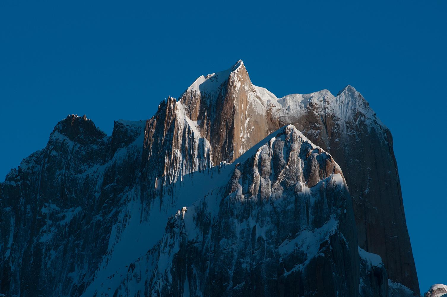 An early morning telephoto from Urdokas on the Baltoro glacier