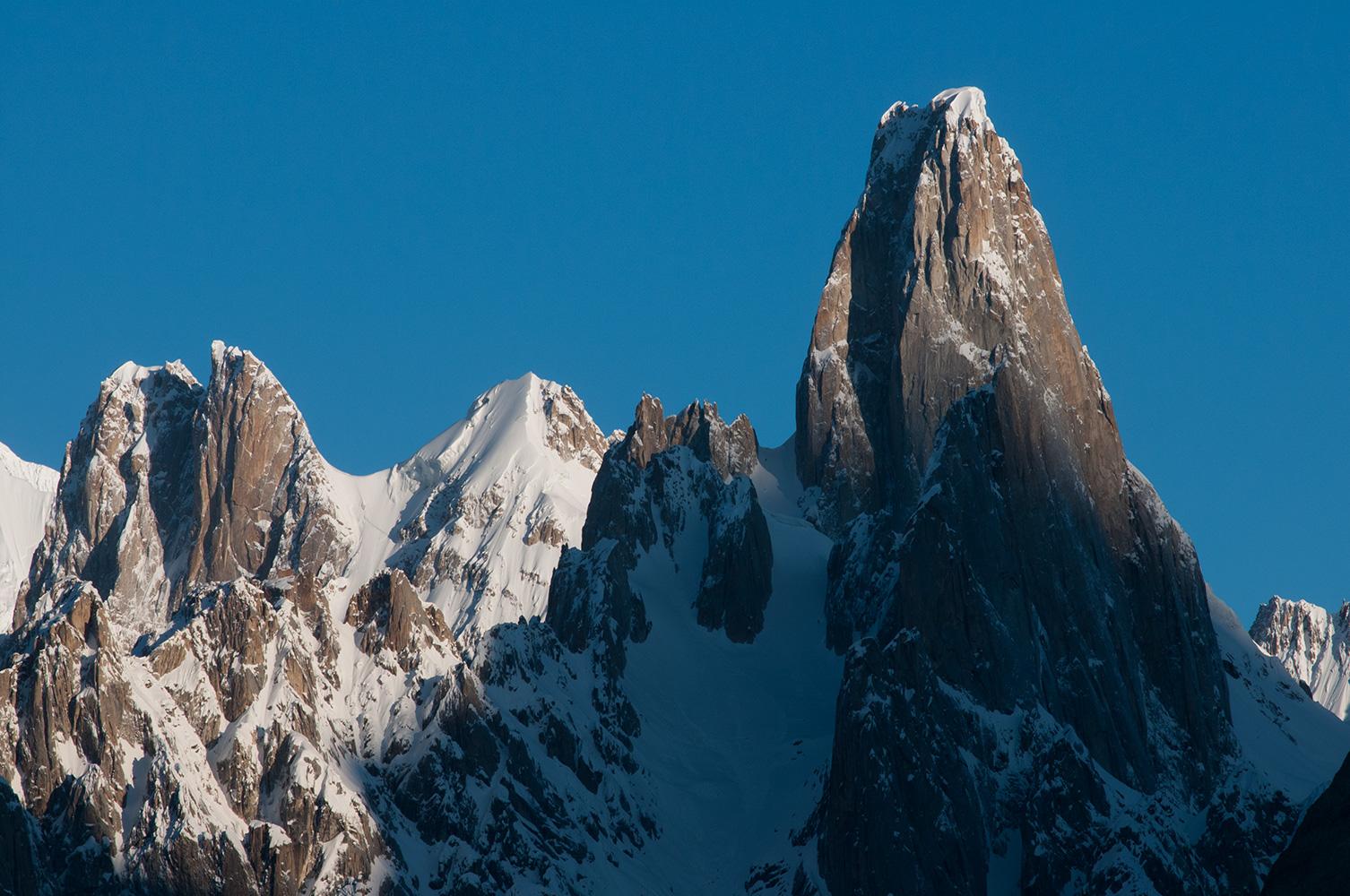 An early morning telephoto from Hobutse on the Baltoro glacier