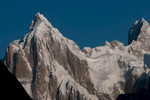 Bathed in early morning sunshine, seen from Hobutse on the Baltoro glacier. 180mm telephoto taken with a Nikon D300