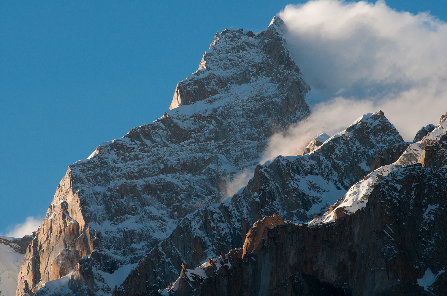 Seen over the shoulders of the Cathedral from Hobutse (Khoburtse) on the Baltoro glacier